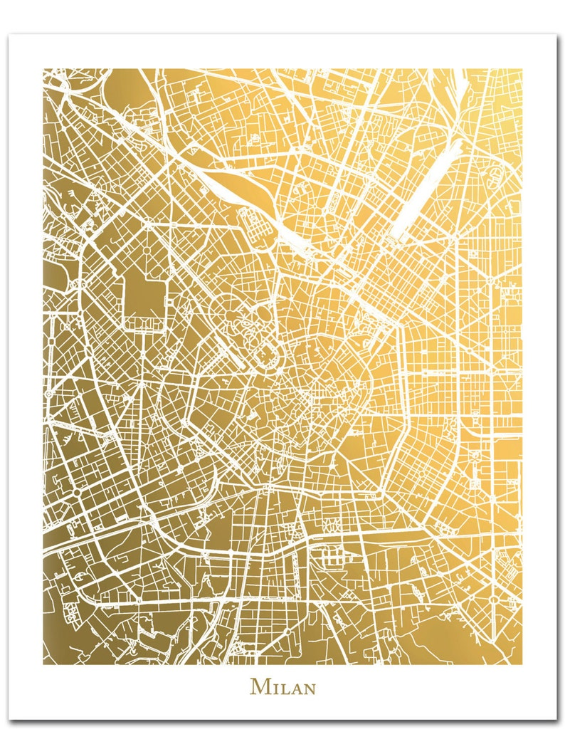 Milan Gold Foil Map™ Milan Print Gold Foil Print Milan City | Etsy