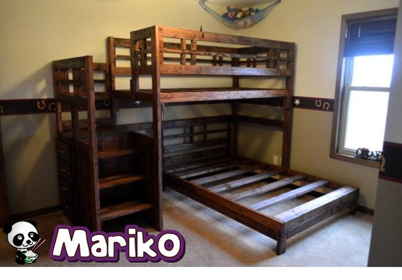 Handmade Real Wood Twin Loft Bed With Separate Lower Full Bed With Stair  Case Dresser  Mariko Bed