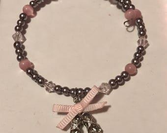 Beaded Bracelet with Ballet Slippers Charm