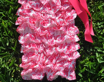 Hot Pink Damask Satin Romper