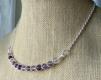 Fluorite Bib Necklace / Wire Wrap Bib Necklace / Purple Fluorite Necklace / Purple Gemstone Necklace / Dainty Necklace / Faerie Inspired