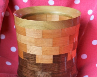 Wood Flowerpot, Planter, Maple and Walnut