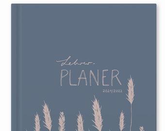 Teacher Calendar 2021 2022   A4 Teacher Planner for Lesson Preparation & Planning   School planner for school year 2021/22   21 x 30 cm, blue pink