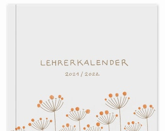 Teacher Calendar 2021 2022   A4 Teacher Planner for Lesson Preparation & Planning   School planner for school year 2021/22   21 x 30 cm, white beige
