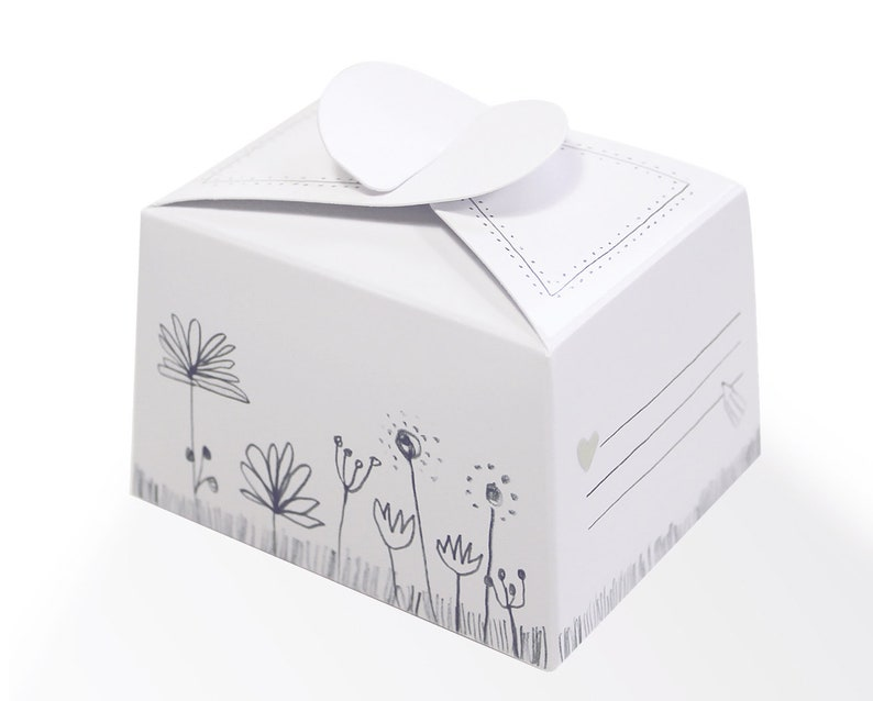 10 Small Chocolate Boxes For Self Labeling White With Flowers Gift Boxes For Wedding Baptism Guest Gifts