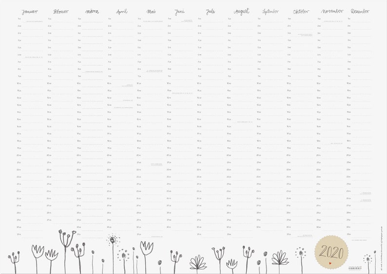 2020 Annual Calendar.Wall Calendar 2020 Across A1 Annual Calendar Annual Solvers With Holidays Retro Pencil Design With Flowers Recycled Paper Folded