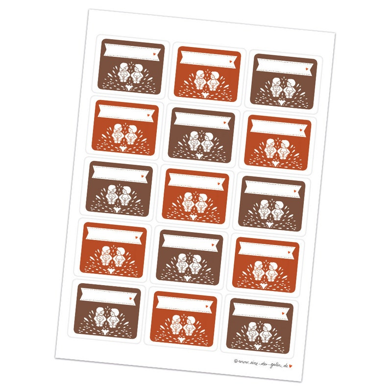 fellow donkey 15 rectangular free text stickers Labels for self-labeling School gifts Retro Design in Red Brown White 48 x 61 cm