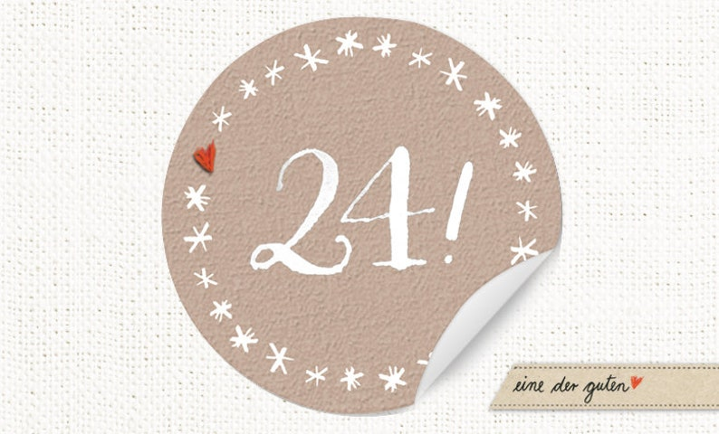 24 Advent Calendar Pay sticker round beige stars image 0