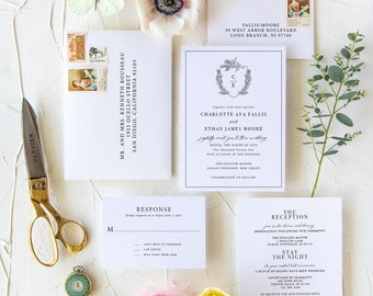 Monogram Crest Wedding Invitations, Whimsical Wedding Invitations, Classic Wedding Invitations
