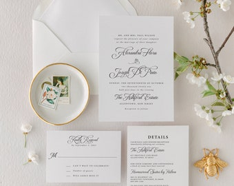 Classic and Timeless Wedding Invitation Suite, Minimalist Wedding Invitations, Lace and Belle Wedding Invitations