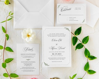 Romantic Wedding Invitations, Minimalist Wedding Invitations, Garden Wedding Invitations