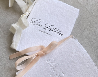 Letterpress Wedding Vow Books, Calligraphy Vow Books