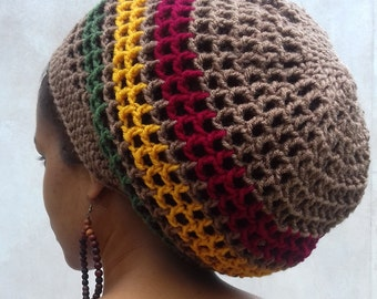 3d3e2233650e7 ILA Irie Dread Nett Rasta Crochet Tam  Red Gold Green stripe  Rasta Crown   Summer Hat  Hats for Locs  Dreadlocks Tam  Rasta Hat  for men
