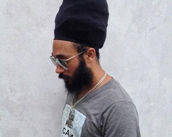 64936da48908cd MATTE BLACK Unisex Loc Cap/ Dreadlock Stocking Cap/ Rasta Turban Hat/ Dread  cap/ Locs cap/ Hats for Rasta men/ Rastafari head covering/ gym