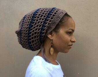 b3089729433be ILA Mushroom Blue Striped  Dread Nett Crochet Tam  Reggae Hat  Rasta hat   For men  For women  Rasta Crown  Dreadlocks Tam  Beanie