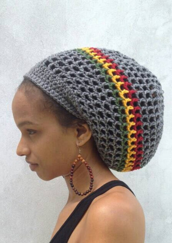 Ila Iras Dread Nett Crochet Tam With Rasta Stripe Rasta Hat Etsy