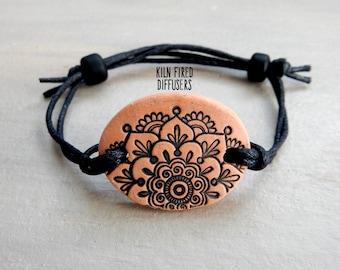 Black Mandala Flower Essential Oil Diffusing BRACELET terra cotta Organic Kiln Fired Clay Jewelry Adjustable Boho Healthy Mothers Day Gift