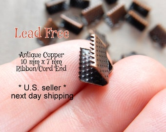 Fold Ribbon Crimps Ends for wide Cord Clasp Flat Connector Bulk Wholesale Craft Findings for DIY Bracelet Jewelry 100 Antique Copper