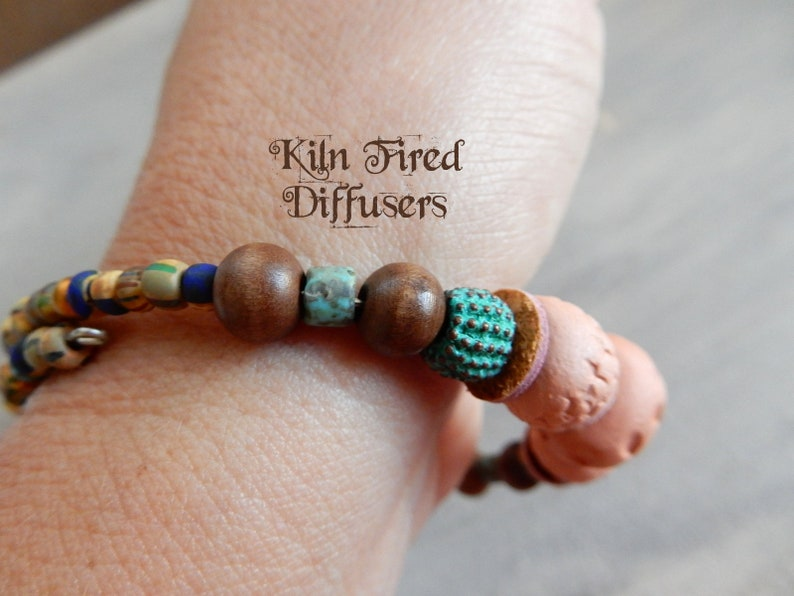 Boho Chic Essential Oil Clay Diffuser Bracelet,kiln fired terracotta aroma stones glass beads on Memory Wire Aromatherapy Jewelry