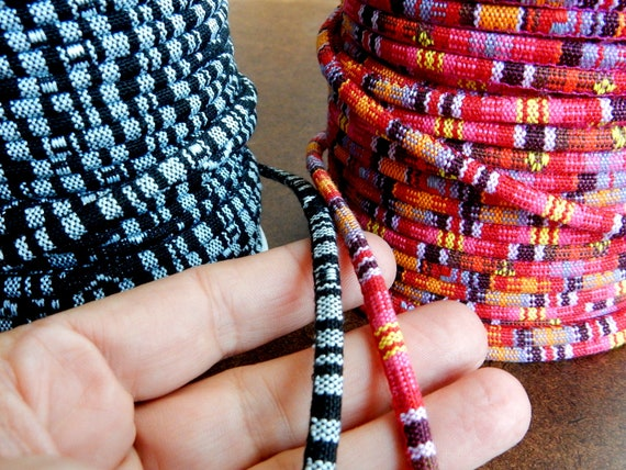 African Fabric Ethnic Rope Cord Colorful Black /& White Pink Orange Thick 6 mm Round Cloth Cotton Boho Bohemian Wrap Bracelet Jewelry Making