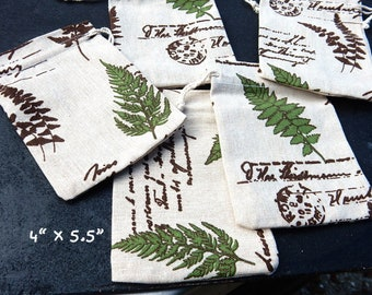 8 Small Gift Bags,Vintage Style Fern Natural Green Brown Fabric Muslin Bags Soap Jewelry Pouches Eco Friendly Drawstring Wedding Favors