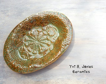 Handmade Footed Lace Porcelain Soap or Sage Burning Smudge Dish Home Cleansing Healing Meditation Decorative Warm Earthy Colors Home Decor
