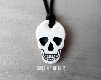 Skull Halloween Essential Oil Diffuser Terracotta Pendant Necklace Boy Jewelry or Car Diffuser Walking Dead Wiccan Woodoo