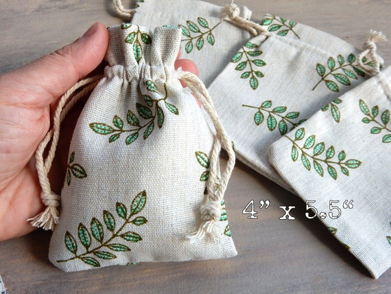8 Small Drawstring Favor Bag Teal Leaves Leaf Natural Cotton Muslin Bags Folk Style Gift Soap Jewelry Wedding Party Supply Pouches 4 x 5.5