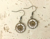 Glass dome clock earrings, vintage clock earrings, clock earrings, watch earrings, clock drop earrings, clock dangle earrings, HG151DP