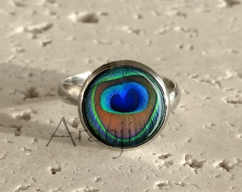 stained glass boho ring peacock ring feather jewelry ring peacock feathers real peacock