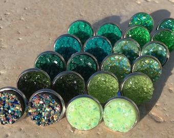 Druzy Jewelry Druzy Cabochon Druzy Studs WHOLESALE 10Pcs 11x9mm Matched Pair Green Druzy Green Oval Druzy Titanium Green Druzy