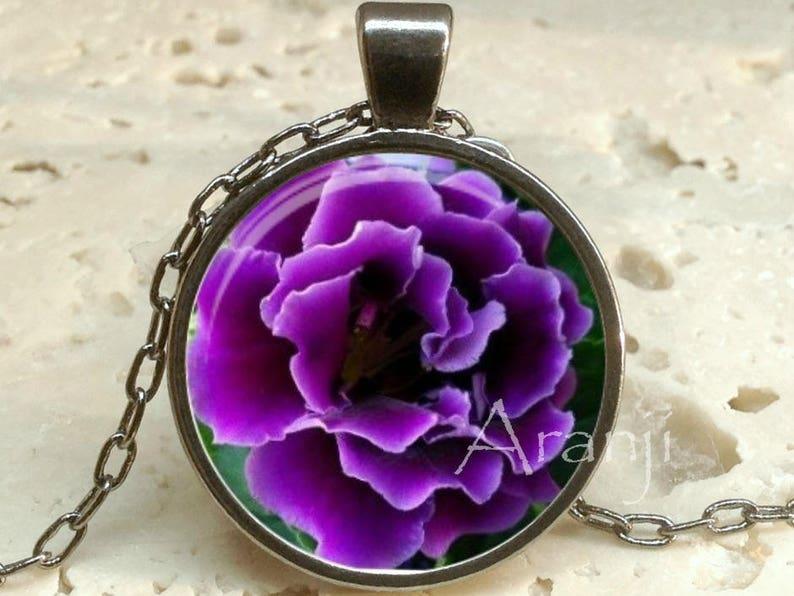 Purple ruffle flower art pendant purple ruffle flower necklace Pendant #PL152P purple floral pendant purple flower pendant