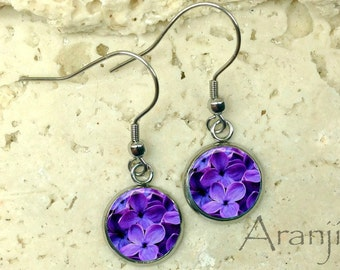 Lilac earrings, lilac drop earrings, purple flower earrings, purple drop earrings, lilac jewelry, lilac dangle earrings, PL142DP