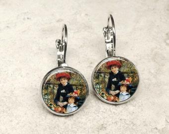 Renoir Two Sisters (On the Terrace) earrings, Renoir earrings, Two Sisters earrings, fine art earrings, Renoir studs, Two Sisters, AR139LB