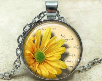 Yellow daisy art pendant, yellow daisy necklace, yellow flower necklace, daisy pendant, daisy necklace, flower pendant, Pendant #PL195P