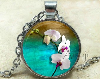 Orchid on turquoise pendant, orchid necklace, orchid pendant, orchid art necklace, botanical art necklace, Pendant #PL186P