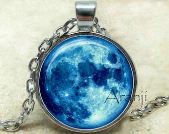Colgante Luna, colgante de luna llena, luna azul colgante, collar de luna azul, collar de luna, joyería Luna, luna azul, Luna, colgante #SP172P