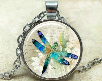 Blue dragonfly art pendant, dragonfly necklace, dragonfly necklace, dragonfly pendant, dragonfly jewelry, dragonfly, Pendant #AN205P
