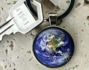 Earth keychain, key chain, key ring, key fob, planet Earth keychain, Earth key chain, gift, Earth, gift for woman, planet keychain #SP149K