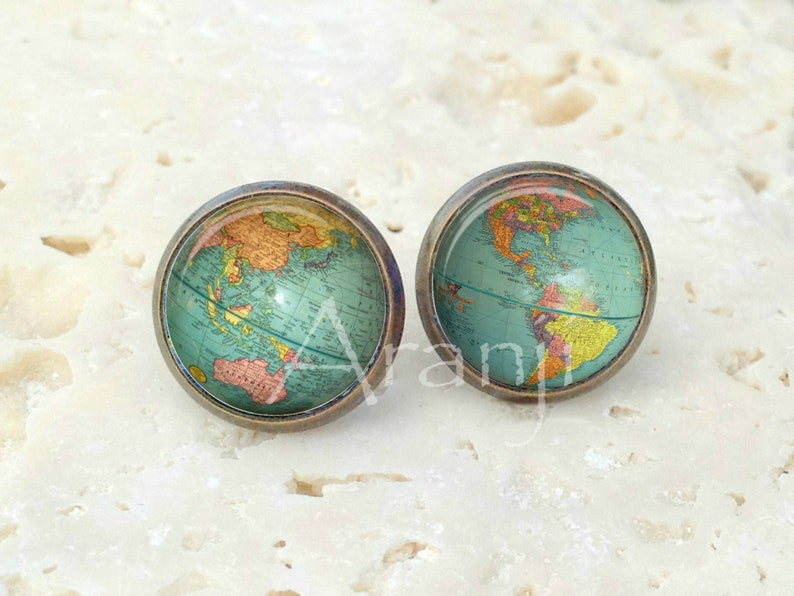 Globe earrings globe post earrings globe stud earrings Antique bronze