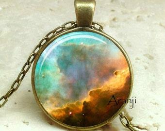 Omega nebula art pendant, nebula necklace, galaxy necklace, space jewelry, Omega nebula necklace, Pendant #SP182BR