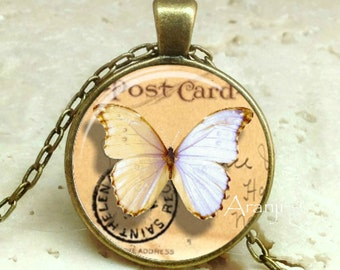 White butterfly necklace, vintage butterfly necklace, butterfly pendant, butterfly jewelry, butterfly necklace, Pendant #AN191BR