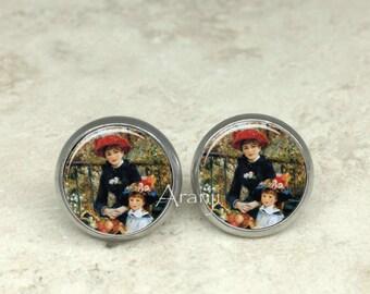 Renoir Two Sisters earrings, Two Sisters earrings, Renoir earrings, fine art earrings AR139E