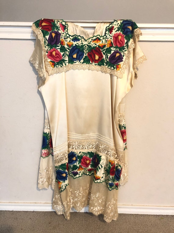 Vintage Mexican Wedding Dress - Cream Silk with Em