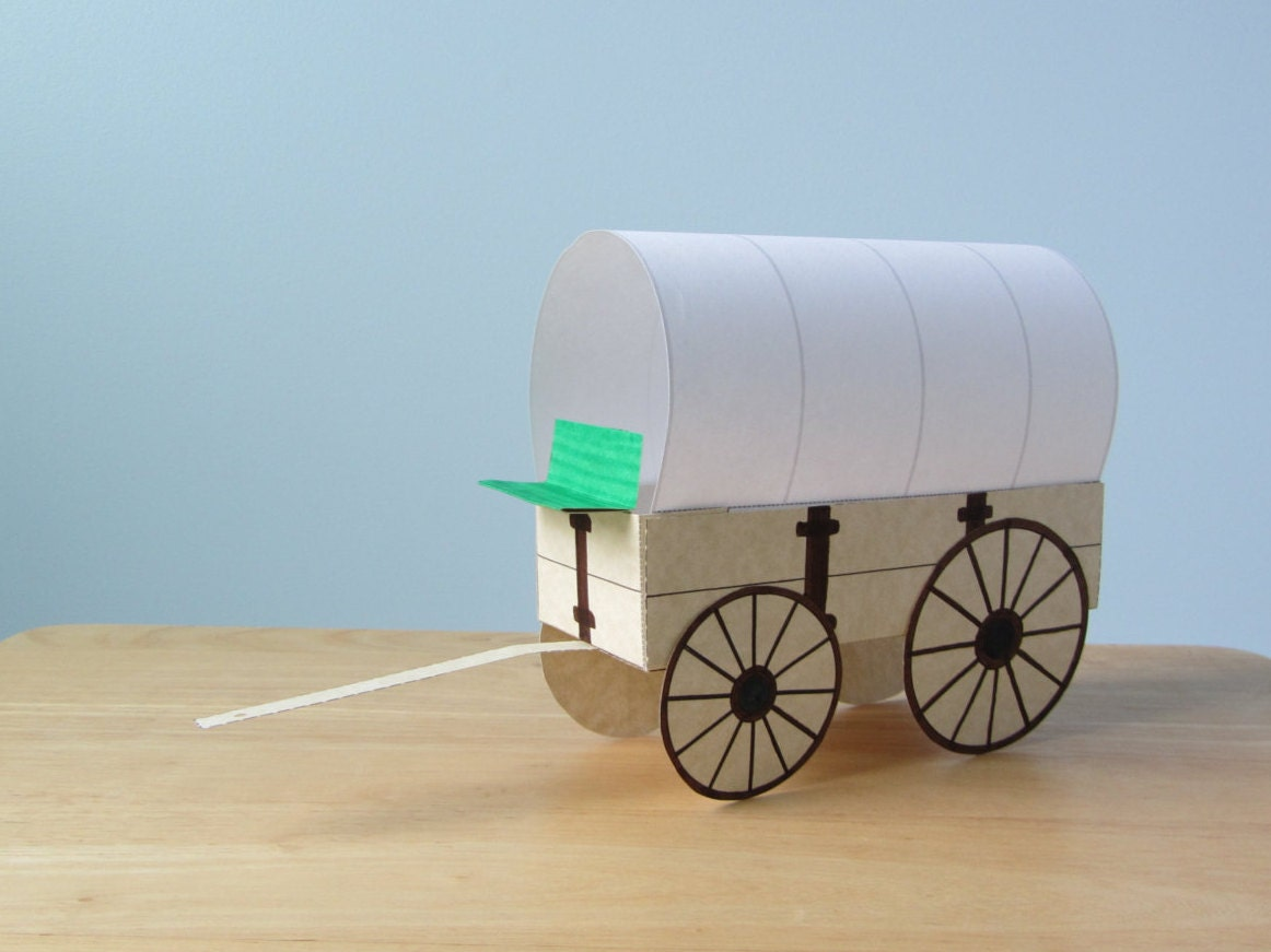 3d Covered Wagon Instant Download Template Etsy