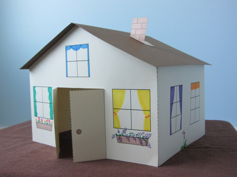 3d Paper House Craft For Kids Instant Download Template Etsy