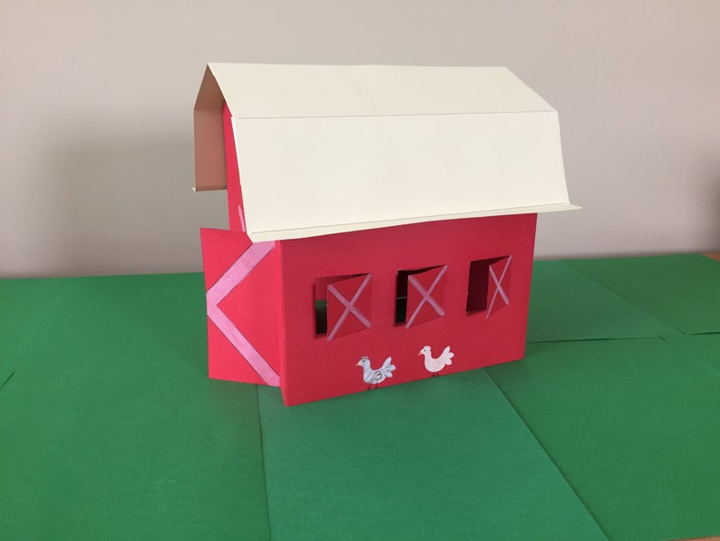 3d Paper Barn Craft Instant Download Etsy
