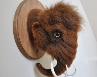 Woolly Mammoth - Faux Taxidermy - Needle Felted - Wall Mount