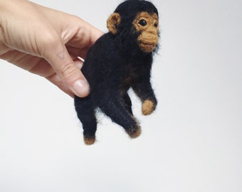 Felted Chimpanzee Art Doll - Faux Taxidermy Needle Felted Soft Sculpture
