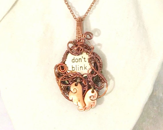 Don't Blink Doctor Who Copper Wire Wrap Pendant